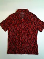 Vintage Lip Service Hollywood USA Flame button front shirt SZ med