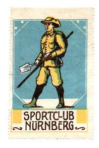 Werbemarke Vignette ,Sportclub Nürnberg, Pfadfinder mit Stab, Spaten u. Rucksack