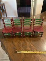 Lot of 4  Doll Highback Chairs Brown Wooden Dollhouse Furniture