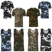 Mens Jungle Camouflage T-shirt Muscle Vest Forest Print Casual Top Running S-5XL