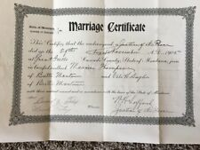 1905 Marriage Certificate Butte Montana Lightweight Boxer Maurice Thompson