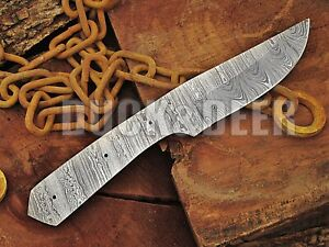 """9"""" HANDMADE FORGED DAMASCUS Steel Blank Blade HUNTING KNIFE Full Tang Y106"""