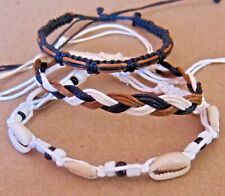3 BRACELET BROWN CORD HEMP SHELL ADJUST ANKLET FRIENDSHIP WRISTBAND mens women