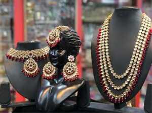 Indian Bridal Wedding Kundan Choker 5 Pcs Pearl Jewelry Necklace Earrings Set