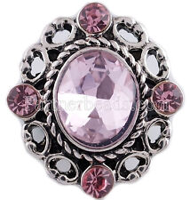 Antique Silver Clear Rhinestone Broach 20mm Snap Charm Jewelry For Ginger Snaps