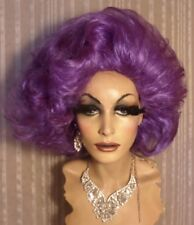 "Drag Costume Wig Light Dark Lavender Purple Medium Short Wig ""Dame Edna"" Style"