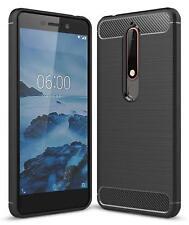For Nokia 6 (2018) / 6.1 Carbon Fibre Gel Case Cover & Glass Screen Protector