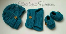 Newborn Baby Newsboy Boy Hat Diaper cover and Booties Crochet photo prop Outfits