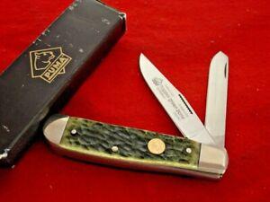 "Puma Made in Germany 3-1/2"" Green Bone 2 Blade Trapper Knife MIB ld"