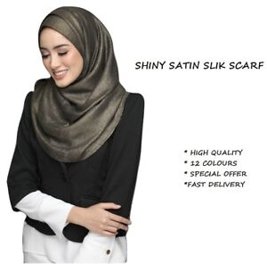 Satin Silk Scarf Hijab Shinny Elegant Soft High Quality Shawl Wrap