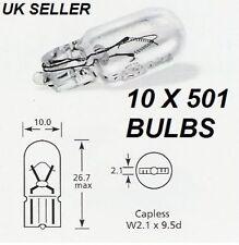 10 PACK x 501 SIDE LIGHT NUMBER PLATE PUSH IN CAR BULB CAPLESS TAIL LIGHT 12V5W