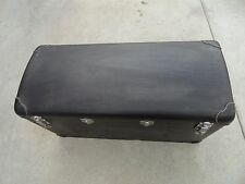 VINTAGE BLACK WOODEN TRUNK WITH METAL AND LEATHER ACCENTS COVERED IN THIN VYNIL