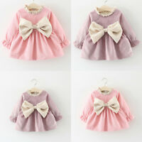 AU STOCK Toddler Baby Girls Winter Long Sleeve Princess Dress Wedding Party Gown