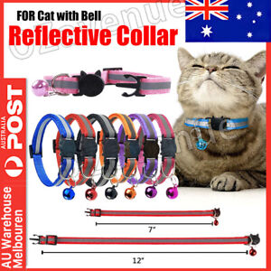 CAT Collar Reflective with Safety Release Breakaway Buckle Kitten Puppy Pet Bell