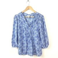 Rebecca Taylor Top 6 Blue Shibori Silk V Neck Blouse Marbled Women's 3/4 Sleeve