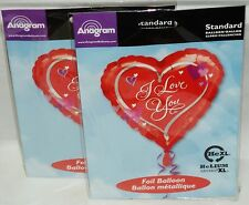 """2 Anagram Foil Balloons RED HEARTS With I Love You Text 17."""" Uninflated NIP"""