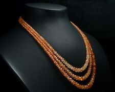 "N-0476 Carnelian Gemstone Crystal Natural Rondelle 3 Line Loose Bead 15""Necklace"
