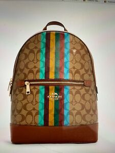 Coach Kenkey Backpack In Signature Canvas with Stripe NWT - C5795