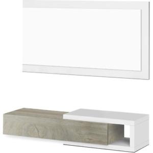 Mobile da ingresso e specchio sospeso design casa 95x26x19 modello NOON