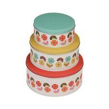 Mid Century Poppy Design Cake Tins Set of 3 Stackable Airtight Food Storage