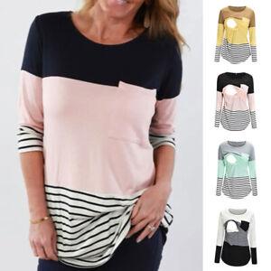 Femmes Maternité L'Allaitement Maternel T-Shirt Allaitement Haut Manches Longues