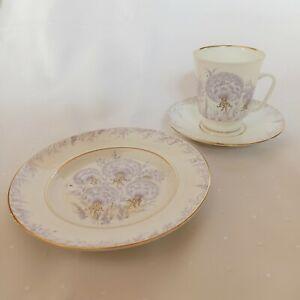 Kaffeegedeck   Lila Pusteblumen Goldrand   Teller + Tasse + Untertasse