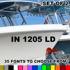 Custom Boat Registration Numbers Vinyl Lettering PWC Water Decals Vessel Jet Ski