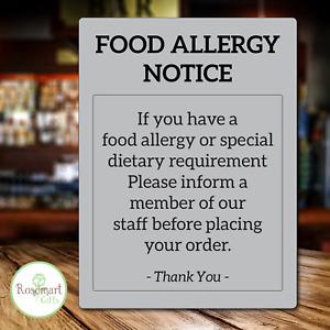 Food Allergy Sign Pub Bar Restaurant Notice Allergen awareness Warning Law Sign
