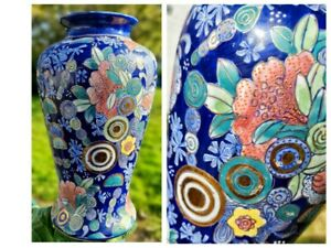 Vintage Chinese Oriental Blue and White Floral Vase Marked