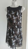 Ladies SEQUIN size 14 TU black silver DRESS gold Shift PARTY occasion FREE POST