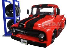 1956 FORD F-100 PICKUP TRUCK W/ EXTRA WHEELS RED 1/24 MODEL JADA 97684
