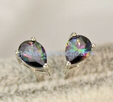 18K White Gold Filled-MYSTICAL Rainbow Waterdrop Topaz Cocktail Earrings Stud