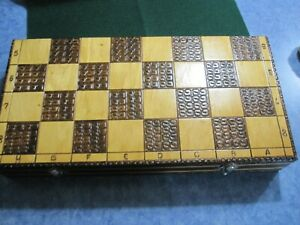 Vintage Carved Wooden Chess Set Folding Board