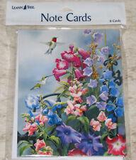 LEANIN TREE Colorful Flowers & Hummingbirds #35471~8 Notecards~Blank Inside~