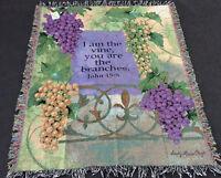 Vintage Vineyard Grapes w/Verse Tapestry Afghan Throw ~ Artist, Sandy Clough