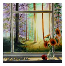 """Alexander Borewko """"Heaven's View"""" Authentic Oil on Canvas Window Outside Artist"""