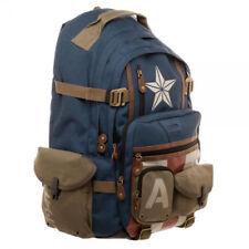 Deluxe Marvel Captain America Licensed Backpack WW2 Inspired School Book Bag