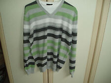 "Men's ""Next"" Casual Striped Green/Grey/White Cotton Top- Size M with neck insert"