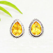 Jewelry Stud Earrings Free Ship Yellow Citrine Gemstone 925 Sterling Silver