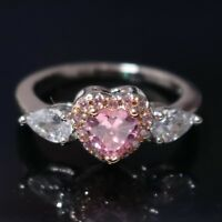 Heart Pink Sapphire Halo Wedding Engagement Ring Love Jewelry Sterling Silver
