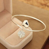 Fashion Love Heart  Crystal Women Silver Plated Bangle Bracelet Gift Jewelry