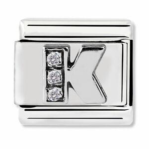 GENUINE Nomination Classic Silver Letter K CZ Charm 330301/11