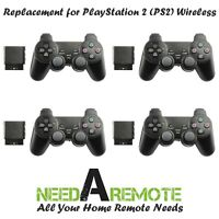 4x For Sony PS2 2.4G Wireless Twin Shock Game Controller Joystick Joypad