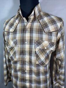 Vintage Levis Western Mens L Pearl Snap Plaid Long Sleeve Shirt Large Black Tab