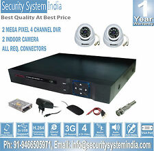 2 INDOOR AHD NIGHT VISION CCTV CAMERA+ 2.0 MP 4 CHANNEL DVR + REQ. CONNECTORS