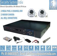 2 INDOOR AHD NIGHT VISION CCTV CAMERA+ 2.0 MP 4 CHANNEL DVR + REQ. CONNECTORS