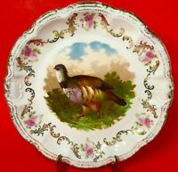 "GAME BIRD PLATE HAND DECORATED LARGE 11 1/2"" BRUSHED GOLD P. M. BAVARIA ANTIQUE"