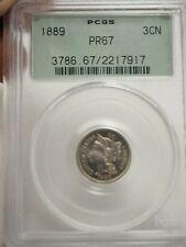 1889 3cn PROOF Three Cent Nickel PCGS PR 67 # 7917 Old Green