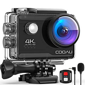 COOAU 4K 20MP Wi-Fi Action Camera External Microphone Remote EIS Stabilization