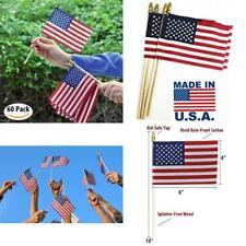 Hand Held American Flags on Sticks 60 Pack 4x6 Inch Made in USA July 4th Holiday